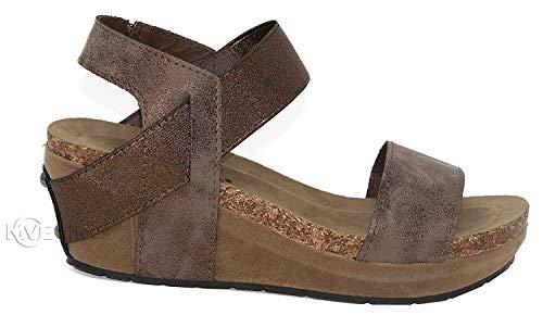 Pierre Dumas Chantal-2 Women's Strappy Wedge Platform Sandals (7 B(M) US, Bronze)