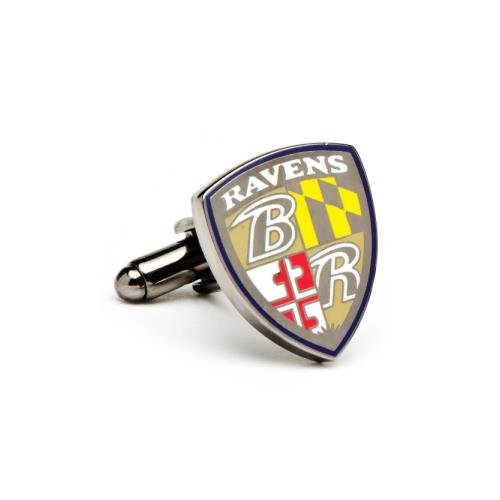 NFL Baltimore Ravens Shield Plated Cufflinks (Team Colors)