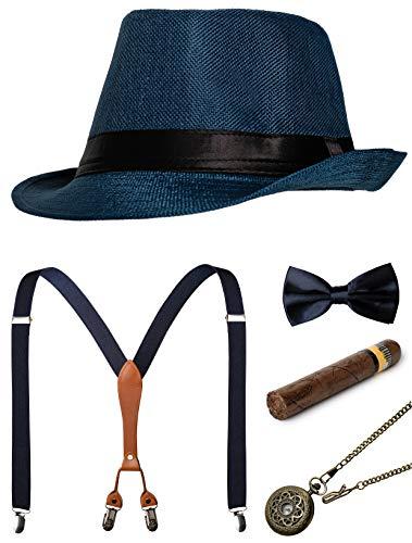 1920s Mens Accessories Gatsby Gangster Costume Accessories Set Manhattan Fedora Hat Suspenders Bow Tie Pocket Watch (Z-Blue Set) ()