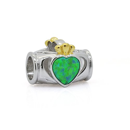 The Kiss Irish Claddagh Friendship Love Loyalty 925 Sterling Silver Bead Fits European Charm Bracelet (Claddagh Golden & Green)
