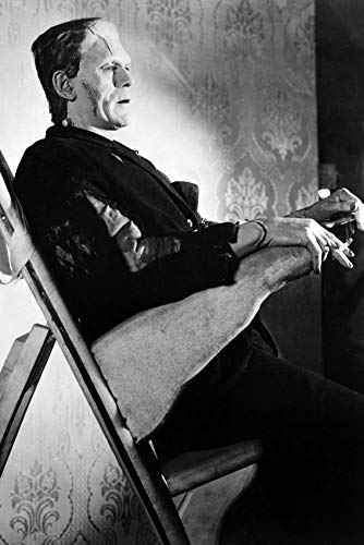 Boris Karloff in Make up Chair with Cigarette in Frankenstein Outfit 24x18 -