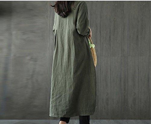 Lino Colore Irregolare Stile Vestito Solido Di Di donne Coolred Verde Sciolto Folk Del Giuntura Cotone fxwCZHxPq