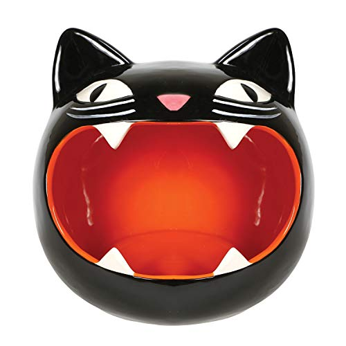 WHAT ON EARTH Black Cat Candy Bowl - Black Kitty Dish - Perfect for Halloween Party Decoration -