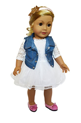 Brittany's My Ivory Lace Dress with Denim Jacket Compatible with American Girl Dolls