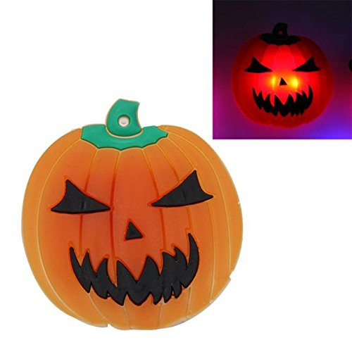 Gbell 2Pcs Kids Toddler Girls Boys Halloween Luminous Brooches - Glow in The Dark Pumpkin Pins Toys- for Kids Halloween Costumes Party Props (Orange)]()
