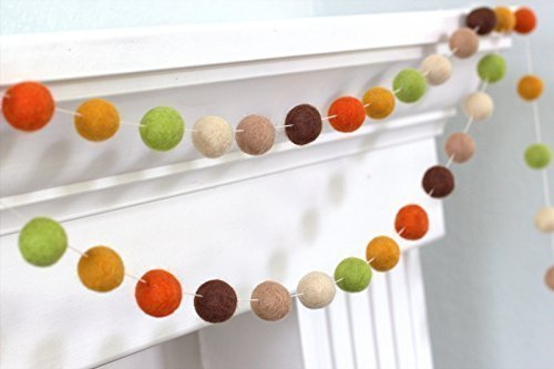 Fall Autumn Halloween Thanksgiving Felt Ball Garland- Brown, Green & Orange