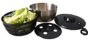 Spruce and Chic® Salad Spinner -Stainless Steel Metal with Large (4.5 Quart) Salad Serving Bowl - Pull String Spinner for Drying and Serving Salad and Vegetables - Dishwasher Friendly