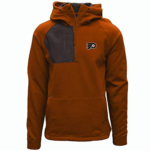 Levelwear NHL Philadelphia Flyers Mens Vanquist Insignia Mens Hooded Pullover, Orange/Charcoal, Large