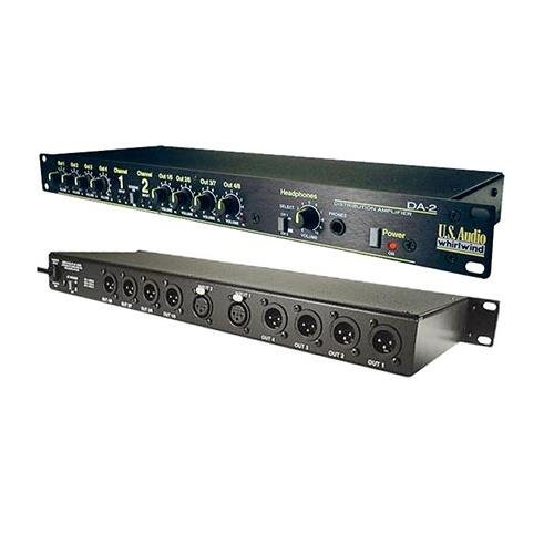 Whirlwind DA-2 2-Channel Audio Distribution Amplifier, 20Hz-20kHz Frequency Response, 112Ohms Output Impedance, 8x 3-Pin XLR Male, 1/4'' TRS Headphone Output by Whirlwind