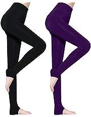 Lot de 2 Legging Femme Hiver, Legging Thermique Femme Legging Hiver, Leggings pour Femmes Pantalons Collants Élastiques Velours Taille Haute, Legging Chaud, Noir & Pourpre, Taille Unique