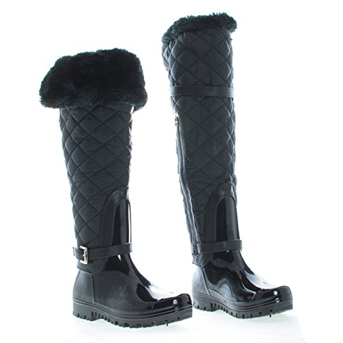 Shoes Waterproof Forever Deco Deck Mid Black Snow 66 Boot Warm DEV Carrie Toe Round Shape Strap Calf Diamond Women's Fur XaxqX5f4