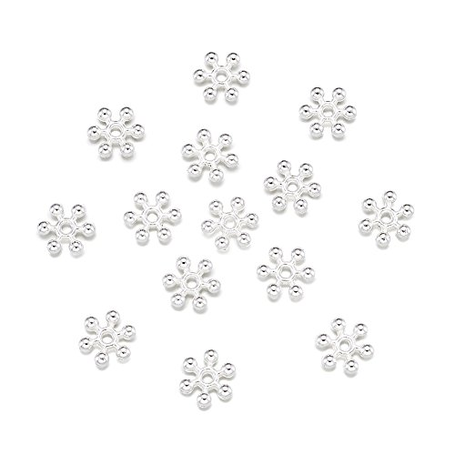 (Pandahall 100pcs Zinc Alloy Round Snowflake Daisy Beads Spacers Loose Charms DIY Jewelry Making Craft Findings Silver)