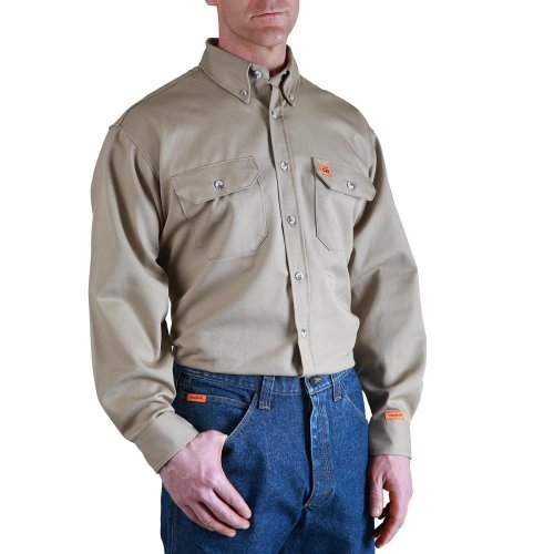 Wrangler Men's Fire Resistant Work Shirt with Two Front Pockets, Khaki, Medium