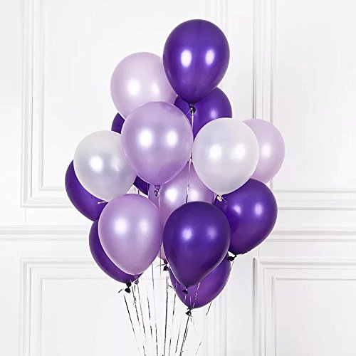 LacGo (120 Pieces) 12 inch Purple color Latex Pearl Party Balloons for Birthday or Event Decoration (Purple,White) (Small White Balloons)