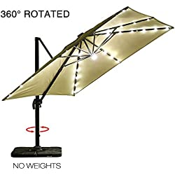 Mefo garden 10 by 10-Feet Offset Cantilever Umbrella, 360° Rotated Outdoor Patio Umbrella with Solar LED Lights for Garden, Backyard, 250gsm Square Canopy, Beige