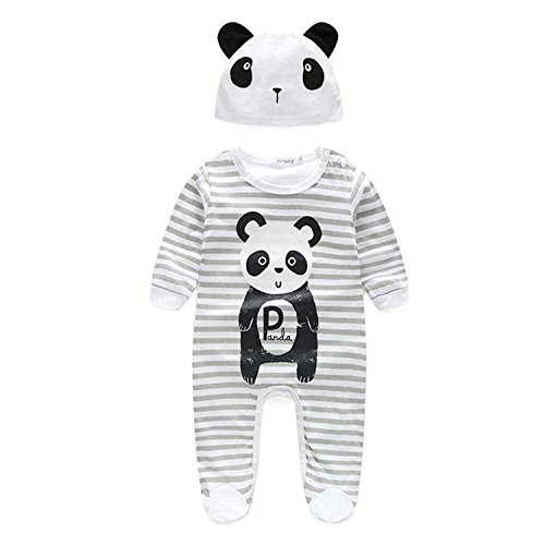 Newborn Infant Baby Boy Girl Outfits Cute Animal Print Stripe Long Sleeve Bodysuit+ Panda Hat Clothes Set (White, 6-12 Months)