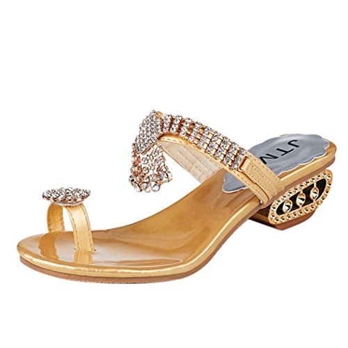 ZOMUSAR Sandals Slippers, Women Fashion Sandals Flip Flop Rhinestone Wedges Crystal High Heels Shoes (US:8, - Suede Moda Wedges