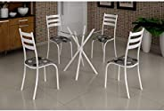 Conjunto Mesa com Tampo Vidro Quadrado e 4 Cadeiras Madmelos Incolor/branco/paraopeba