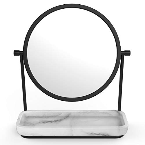 (Two-Sided Magnifying Makeup Vanity Mirror, 5X Magnification with 360 Degree Swivel Rotation, Tabletop Cosmetic Bathroom Mirror With Stand and Storage Tray (Black))