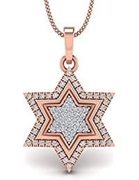 0.31cts Natural Diamond Gold Over Sterling Silver Star Diamond Pendant For Her