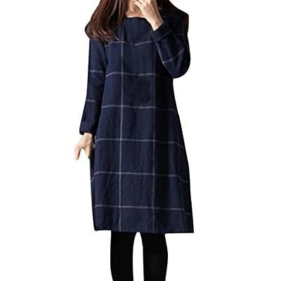 Womens Vintage Casual Loose Dress,Ladies Long Sleeve Check Plaid Short Blouse (M, Blue)