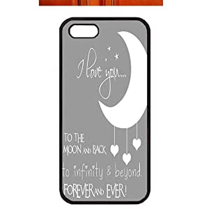 Case For Iphone 6 Plus 5.5 Inch Cover ,fashion durable black side design phone case, pc material phone cover ,with art words I love you to the moon and back .