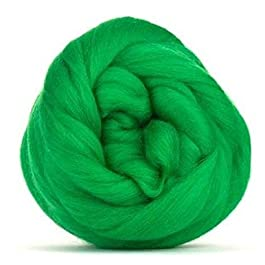 4 oz Paradise Fibers 64 Count Dyed Merino Top Spinning Fiber (Emerald Green)