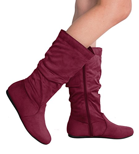 Boot New with Suede Buckle Toe Round Premium Women's Slouchy Moda Burgundy Top Faux zqAXx1w