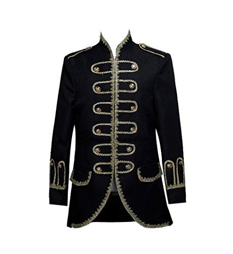 ROLECOS Mens Royal 18s Tuxedo Dress Suit Prince Theater Costume Blazer Pants Black S]()