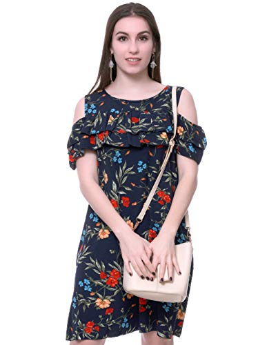 r Plus Size Cold Shoulder Ruffles Loose Wrap Short Sleeves Beach Wedding Party Midi Casual Dress (Navy, XL) ()