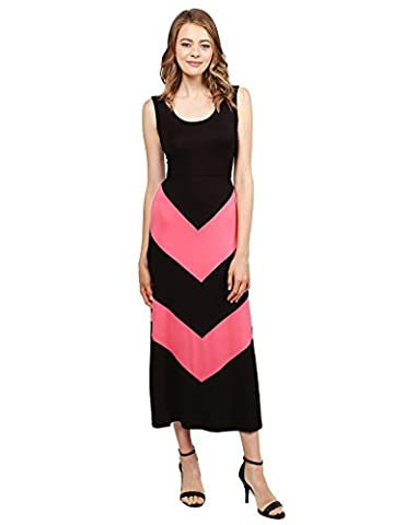 Color Block Striped Good Stretch Long Dresses Black Coral Size 2XL - Holiday Stretch Lace Dress