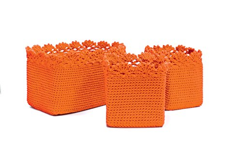 Heritage Lace Mode Crochet Rectangle Baskets with Crochet Edge, Orange, Set of 3 (Baskets Crocheted)