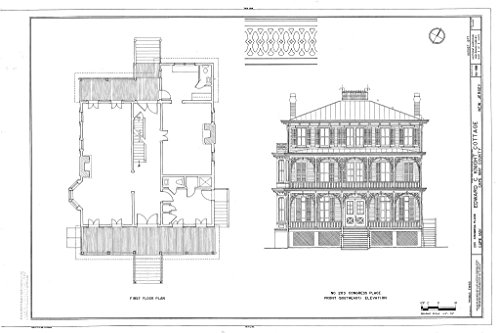 Historic Pictoric Blueprint Diagram First Floor Plan, Front (Southeast) Elevation - Edward C. Knight Cottage, 203 Congress Place, Cape May, Cape May County, NJ 44in x 30in