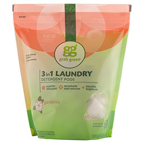 (GrabGreen 3 in 1 Laundry Detergent Pods Gardenia 60 Loads 2lbs 6oz 1080 g)