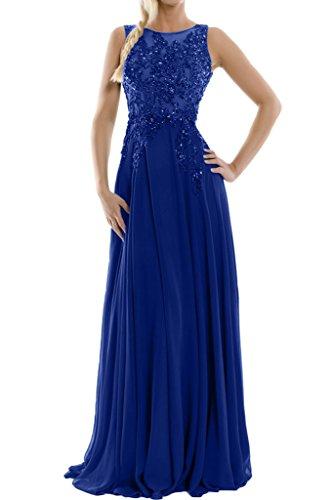 Elegant Lang Royalblau Abendkleider Missdressy Ballkleider Abiball Aermellos Rundkragen Rueckenfrei Chiffon Festkleider Abschlussball Tuell Satin drrWOE