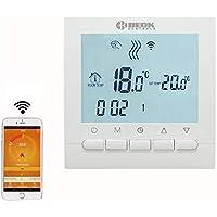 Beok BOT-313 Wi-Fi per caldaia a gas, cronotermostato programmabile, con schermo LCD e app gratuita! Controllo remoto online tramite smartphone, AC220V 3A, bianco, 220.00 voltV