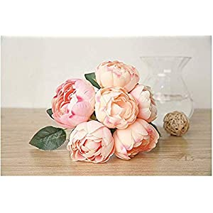 Meiliy 6 Pcs High Quality Artificial Damask Rose Flower Peony Bouquet Bride Bridesmaid Holding Flowers For Home Hotel Office Wedding Party Garden Craft Art Decor, Champagne Pink 115