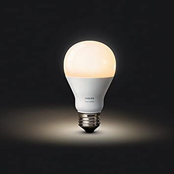 Works with Alexa California Residents Philips Hue White A19 60W Equivalent Single LED Light Bulb Apple HomeKit and Google Assistant,