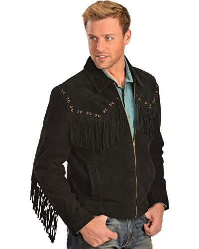 Boar Suede Jacket (Scully Men's Boar Suede Fringe Jacket Black XX-Large)