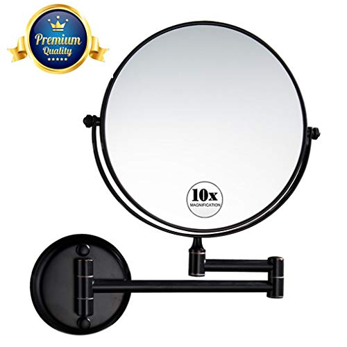 KWEE Double-Sided Makeup Mirror 10x Magnification Wall Mount, Upgraded 8-Inch Swivel Mirror,13 -