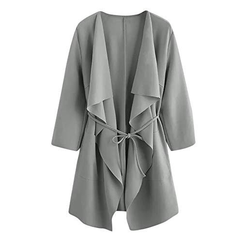Waterfall Collar Cardigan Women Open Front Wrap Draped Jacket Pockets Outwear Gray