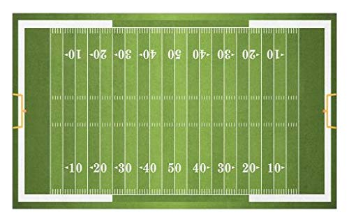 Lunarable Football Doormat, Sports Field in Green Gridiron Yard Competitive Games College Teamwork Superbowl, Decorative Polyester Floor Mat with Non-Skid Backing, 30 W X 18 L Inches, Green White