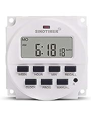 Interruptor do temporizador Sinotimer 12V semanal 7 dias Interruptor de tempo programável digital Relé do controle do temporizador Rechamada de contagem regressiva para aparelhos elétricos - branco