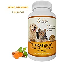 Turmeric Hip & Joint Complex for Dogs with Glucosamine Chondroitin MSM - Best Anti Inflammatory for Dogs - Arthritis Pain Relief - Supplement for Joint Health by WetNozeHealth - 120 Chews