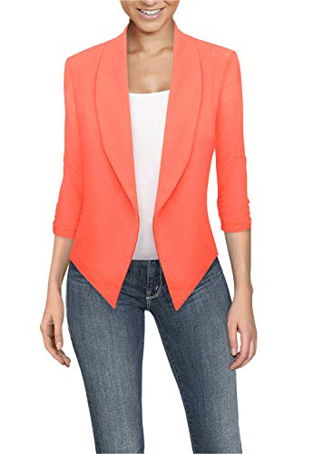 Womens Casual Work Office Open Front Blazer JK1133X NEON Coral 2X (Coral Plus Size Women)