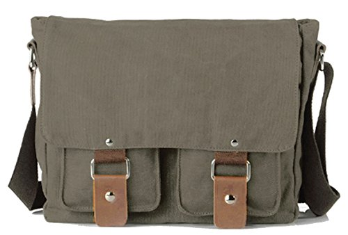 Lustear Satchel Messenger Bag Vintage Canvas Travel Shoulder Bag (Side Zip Satchel)