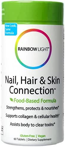 Rainbow Light - Nail, Hair & Skin Connection, Beauty Support Healthy Collagen Production and Strong, Lustrous Nails and Hair with Silica, MSM, Horsetail Herb and Biotin, Vegan, Gluten-Free, 60 Tablets