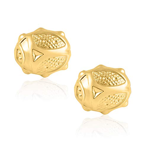14KT Yellow Gold Medium Lady Bug Children's and Baby Girls Stud Earrings - Charming with Secure Screw Back Safety Closure]()