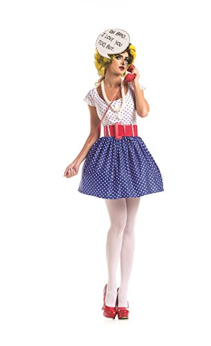 Comic Book Makeup Halloween Costume (Party King Women's Pop Art Cutie Costume Set, White/Blue,)