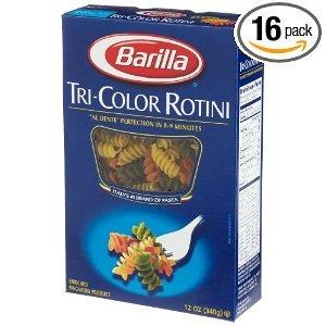 Barilla Rotini Tri-Color Pasta [Case Count: 16 per case] [Case Contains: 192 OZ]